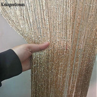3x2.6m String Curtain Shiny Tassel Line Curtains Window Door Divider Drape Living Room Decor Valance - Avenila - Interior Lighting, Design & More