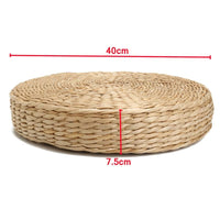 40x7.5cm Natural Straw Round Wooden Yoga or Floor Cushion - Avenila - Interior Lighting, Design & More