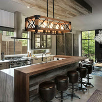 5 Lights Industrial Kitchen Island Light Wood Chandelier Pendant Ceiling Light - Avenila - Interior Lighting, Design & More
