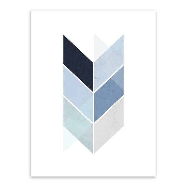 Abstract Blue Geometric Shape Art Vintage Print Poster Minimalist Hipster Wall Art Picture Nordic Home Decor Painting No Frame - Avenila - Interior Lighting, Design & More