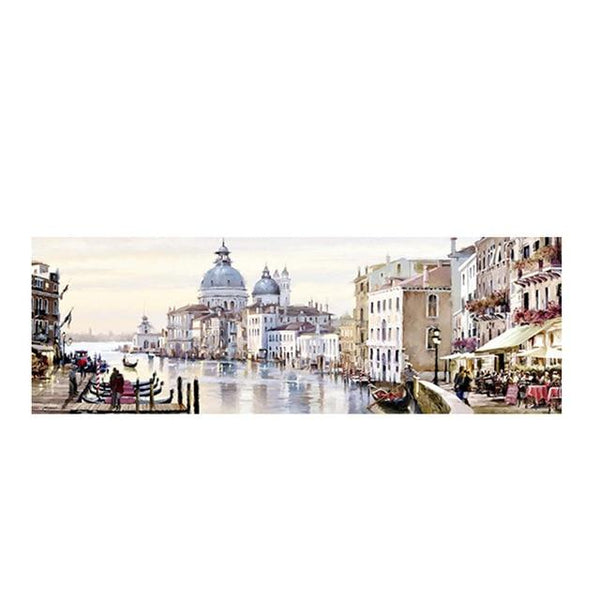 Abstract Venice City of Water Oil Painting on Canvas Resort Boats Buildings Cuadros Posters and Prints Wall Art for Living Room - Avenila - Interior Lighting, Design & More