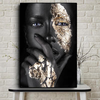 African Art Black and Gold Woman Oil Painting Canvas Poster - Avenila - Interior Lighting, Design & More