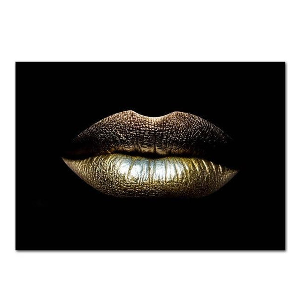 African Art Gold Lips Poster Painting Unframed - Avenila - Interior Lighting, Design & More