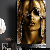 African Art Poster - Gold Woman with Covering Painting - Avenila - Interior Lighting, Design & More