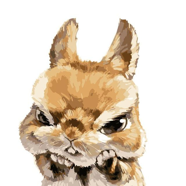 Angry Bunny Poster | Modern Wall Art Canvas Painting Unique Gift Home Decor 40x50cm - Avenila - Interior Lighting, Design & More
