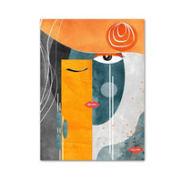 Avenila Abstract Faces One Eye Closed Geometric Canvas Painting Contemporary Wall Art Pictures Posters - Avenila - Interior Lighting, Design & More