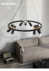 Avenila Black Modern Designer Circle Ring Light Tube Pendant Chandelier - Avenila - Interior Lighting, Design & More