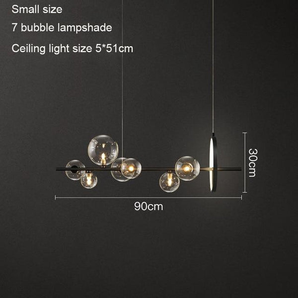 Avenila Nordic Black LED Chandelier Light 7/10 Glass Bubble Lampshade Dining Room - Avenila - Interior Lighting, Design & More