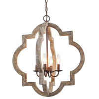 AVENILA Vintage Solid Wooden 4 Light Pendant Chandelier - Avenila - Interior Lighting, Design & More