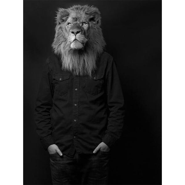 Black and White Classy Lion in Dress Shirt | Wall Art Posters And Prints Animal Wearing a Hat Canvas Painting - Avenila - Interior Lighting, Design & More