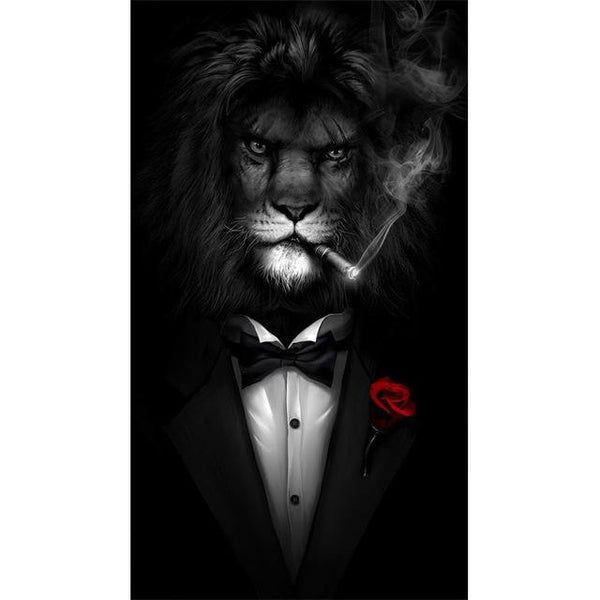 Black and White Classy Lion in Tuxedo | Wall Art Posters And Prints Animal Canvas Painting - Avenila - Interior Lighting, Design & More