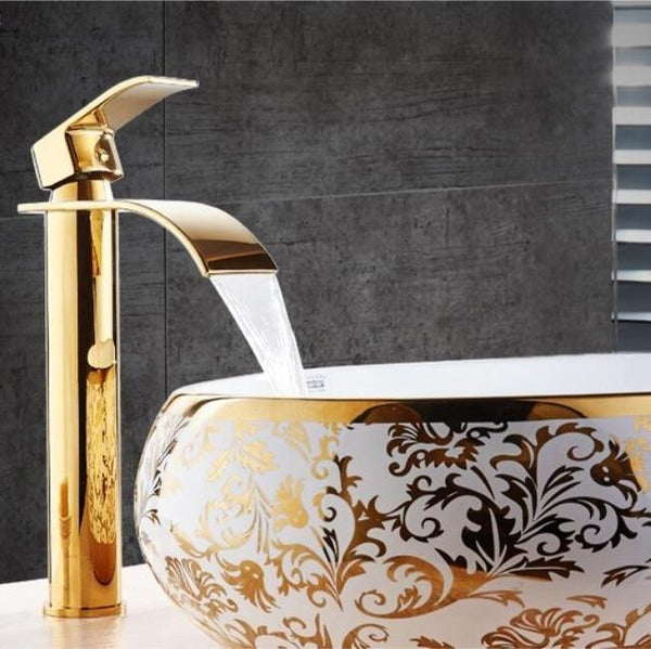 Brass Gold & White Waterfall Luxury Bathroom Faucet - Avenila - Interior Lighting, Design & More