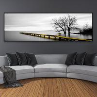 Calm Lake Surface Yellow Long Bridge Scene Black White Canvas Paintings Poster Prints Wall Art Pictures Living Room Home Decor - Avenila - Interior Lighting, Design & More
