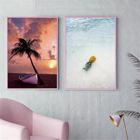 Canvas Painting Seascape Poster Beach Sea Tree Sand Ocean Pineapple Poster Nordic Style Print Wall Picture For Living Room - Avenila - Interior Lighting, Design & More