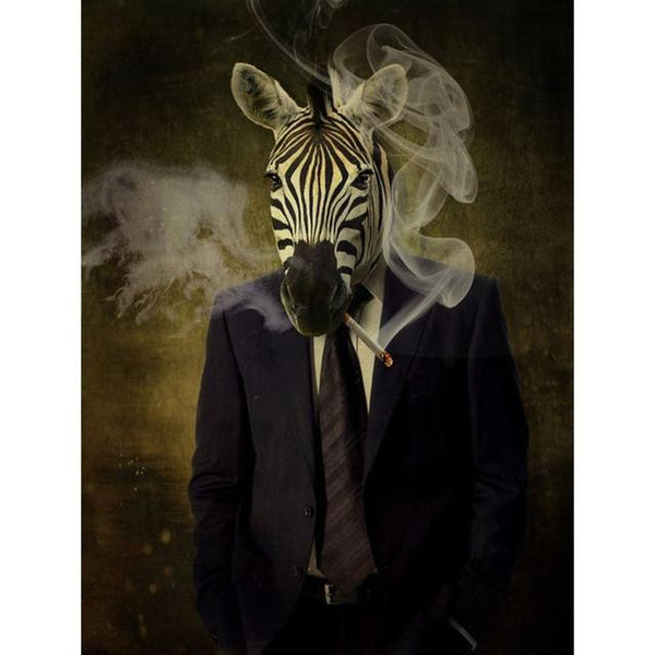 Classy Zebra in Suit Poster | Wall Art Posters And Prints Animal Wearing a Hat Canvas Painting - Avenila - Interior Lighting, Design & More