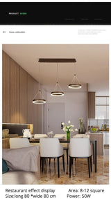 Coffee LED Pendant Light Kitchen Dinning Room Backside Lighting 3 heads Round Acrylic Lamp Luminaire Indoor Fixtures - Avenila - Interior Lighting, Design & More