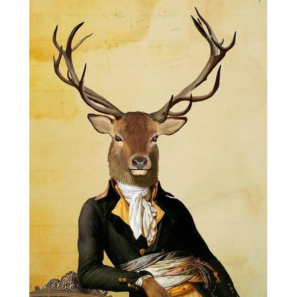 Colonel Deer Revolutionary Soldier | Wall Art Posters And Prints Animal Canvas Painting - Avenila - Interior Lighting, Design & More