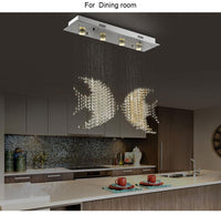 Customizable Flush Mount Luxury Crystal Double Fish Kissing Chandelier - Avenila - Interior Lighting, Design & More