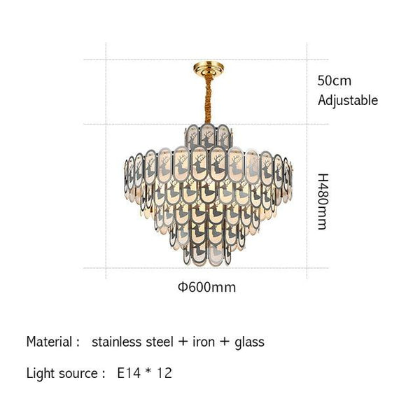 Deer Modern Christmas Crystal Gold Small Round Chandelier - Avenila - Interior Lighting, Design & More