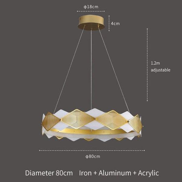 Diamond Shaped Gold & White New Modern Chandelier - Avenila - Interior Lighting, Design & More