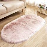 Ellipse Soft Faux Sheepskin Fur Chair Cushion Area Rugs for Bedroom Floor Shaggy Silky Plush Carpet White Bedside Mat - Avenila - Interior Lighting, Design & More