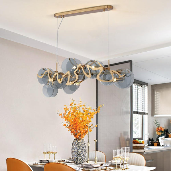Flush Mount Modern Glass Blue & Gold Living Room Chandelier - Avenila - Interior Lighting, Design & More