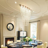 Flush Mount Oval Crystal Waterfall Ceiling Chandelier - Avenila - Interior Lighting, Design & More