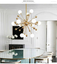 Glass LED Gold Sputnik Chandelier - Avenila - Interior Lighting, Design & More