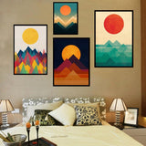 Golden & Red Abstract Setting and Rising Sun Canvas with Mountain Unframed - Avenila - Interior Lighting, Design & More