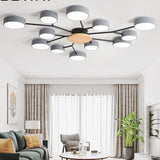 Grey Modern LED Chandelier With Round Gray Metal Lampshades For Living Room - Avenila - Interior Lighting, Design & More