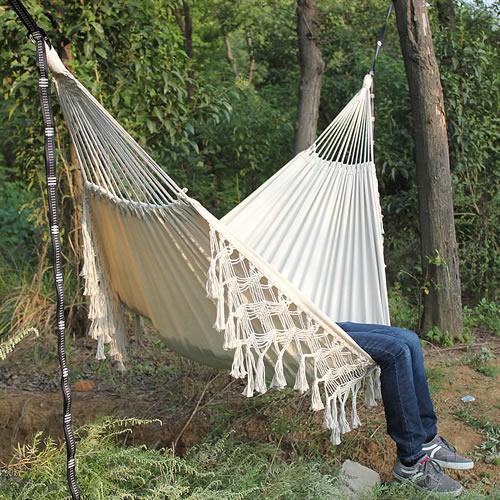 Hammock Boho Large Brazilian Macrame Fringe 2 Person Double Deluxe Hammock Swing Net Chair indoor hanging chair hammock swings - Avenila - Interior Lighting, Design & More