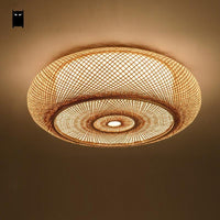 Hand-woven Bamboo Wicker Rattan Round Lantern Shade Ceiling Light Fixture Rustic Asian Japanese Plafon Lamp Bedroom Living Room - Avenila - Interior Lighting, Design & More