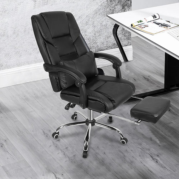 High Quality Office Chair With Foot Pad Adjustable Lifting Tilt Swivel Chair Artificial Leather Game Chair HWC - Avenila - Interior Lighting, Design & More