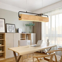 "Japan Wooden 28 1/2"" to 35 1/2"" Wide Linear Pendant - Avenila - Interior Lighting, Design & More"