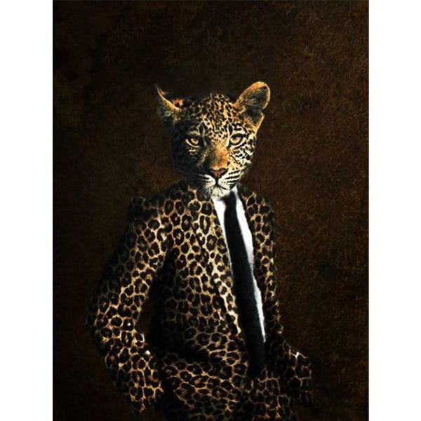 Leopard in Suit Poster | Wall Art Posters And Prints Animal Wearing a Hat Canvas Painting - Avenila - Interior Lighting, Design & More