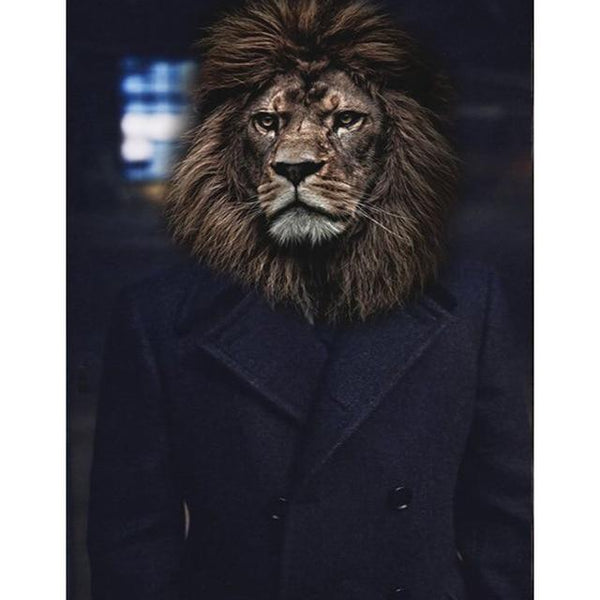 Lion in Overcoat Poster | Wall Art Posters And Prints Animal Canvas Painting - Avenila - Interior Lighting, Design & More