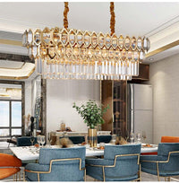 Luxury Modern Chandelier Lighting For Dining Room Rectangle Gold Crystal Lamps Large Kitchen Island LED Cristal Light Fixtures - Avenila - Interior Lighting, Design & More