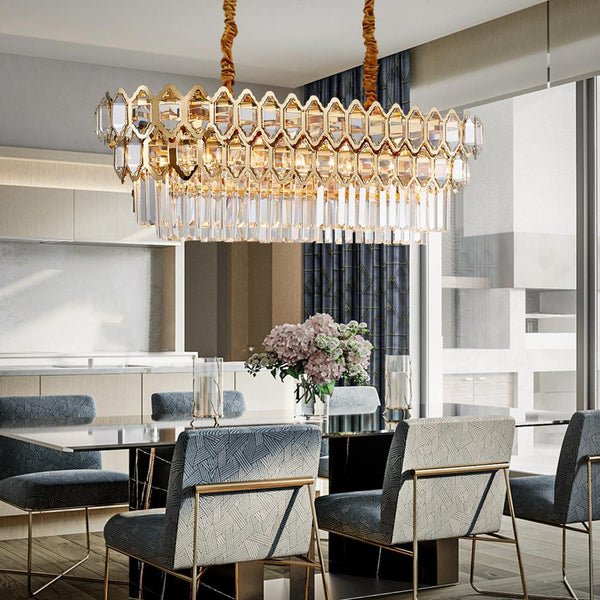 Luxury Modern Chandelier Lighting For Dining Room Rectangle Gold Cryst