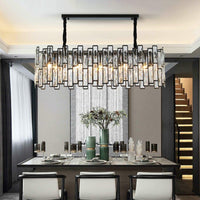 Luxury Rectangle Black Modern Crystal Chandelier 80cm Length 22cm Width - Avenila - Interior Lighting, Design & More