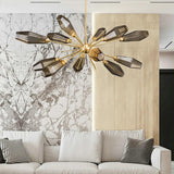 Luxury SemiFlush Gold Smoky Gray Glass Sputnik Living Room Chandelier - Avenila - Interior Lighting, Design & More