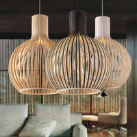 "Modern 8 3/4"" to 19 3/4"" Wide Wood Birdcage Pendant Light Shade - Avenila - Interior Lighting, Design & More"