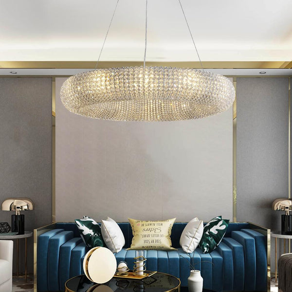 Modern Chrome Crystal Chandelier Lighting Round Ring Dining Room Lamp,Blue Wall Living Room Ideas