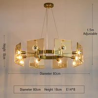 Modern Clear Glass Gold Round Chandelier Lighting For Dining Room Bedroom Chandeliers Light Fixtures LED Lamp - Avenila - Interior Lighting, Design & More