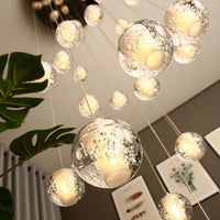 Modern Crystal Glass Ball LED Pendant Lights Fixtures Multiple Staircase Lamps Bar Hanging Lamp For Hotel - Avenila - Interior Lighting, Design & More