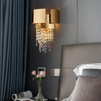 Modern Crystal Gold Plated Bedroom Wall Lamp - Avenila - Interior Lighting, Design & More
