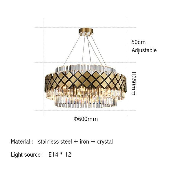 Modern Crystal Gold Rectangle Chandelier Lighting For Dining Room Bedroom Round Chandeliers Living Room Light Fixtures - Avenila - Interior Lighting, Design & More