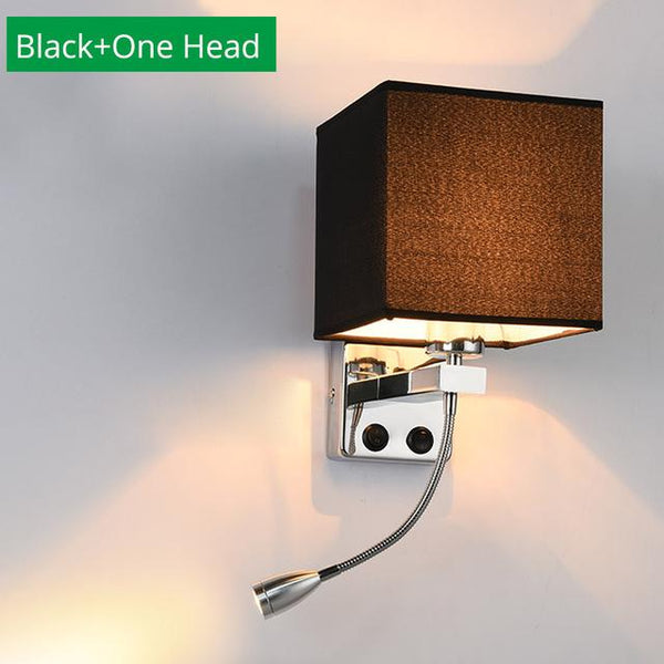 Modern Indoor LED Hotel Bedroom Wall Lamp w/ USB Charging - Avenila - Interior Lighting, Design & More
