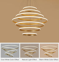 "Modern LED 7 3/4"" to 39 1/4"" Multi-Ring Pendant Chandelier - Avenila - Interior Lighting, Design & More"