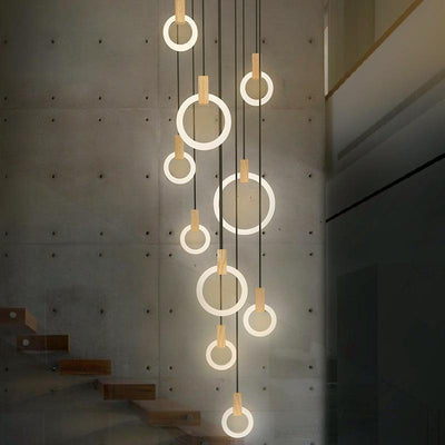 Modern LED Wall Stair Ring Chandelier - Avenila - Interior Lighting, Design & More