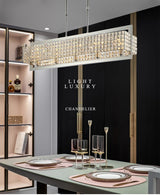 Modern Luxury Clear Crystal Rectangle Chrome Chandelier Lighting Led Lamps Home Decoration Hanging Lamp Indoor Lights Fixture - Avenila - Interior Lighting, Design & More
